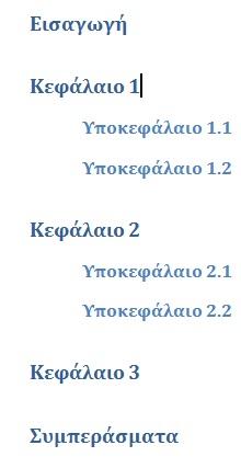 δομή μορφοποιημένου κειμένου με επικεφαλίδες στο word
